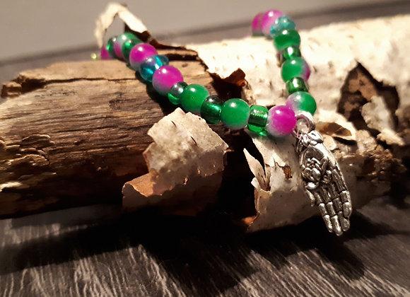 Bracelet perlé hamsa violet et vert