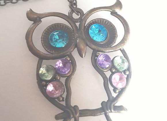 Collier métallique coloré hibou