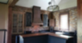 PortStone thin brick wall in a beautiful kitchen.  Brick panels, New Castle brick color.