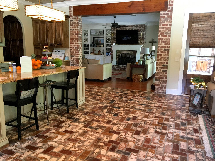 PortStone Brick floor in a kitchen.  Herringbone brick pattern.  St. Louis brick color ina kitchen.  Kitchen brick floor.