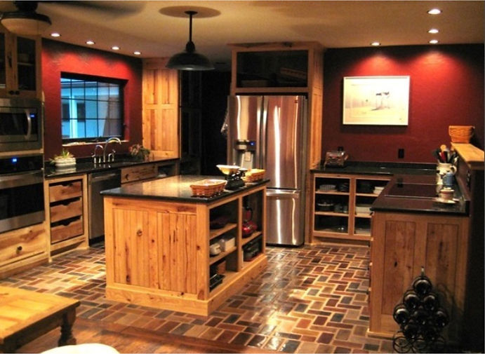 Charleston brick floor in kitchen.  Kitchen with a brick floor.  Thin brick flooring.  Open cabinet design.  Dark red walls in a kitcen with brick floors.