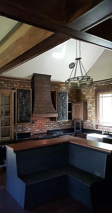 PortStone Thin Brick, New Castle brick color.  Beautiful brick walls in a kitchen.