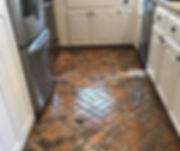 Thin brick for flooring.  Abbeville brick coor.  Pinwheel Brick pattern.  PortStone thin brick.