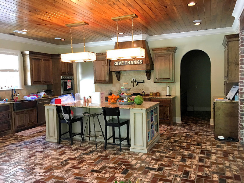 Thin Brick Kitchen Floor Herringbone StL