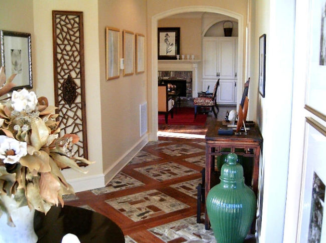 Wood and brick floor. PortStone brick flooring.