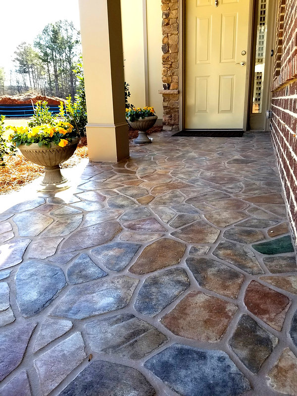 Pickett's Mill flagstone by PortStone on a front porch.  flagstone pattern.  PortStone.
