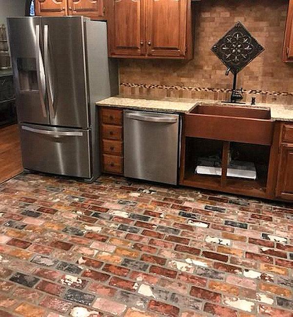 St. Louis brick color.  Brick floors in a kitchen.  Kitchen brick floors. PortStone thin brick on a kitchen floor.  St. Louis 25% White