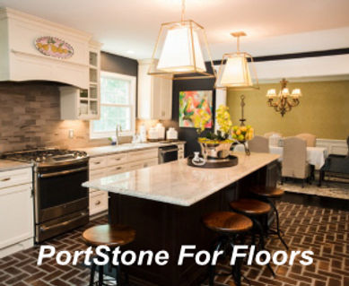 PortStone thin brick for use n kitchen floors.  Brick floors in a kitchen