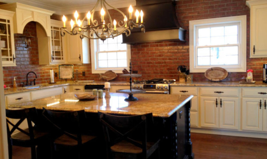 Brick walls in a kitchen. Kitchen brick walls.  PortStone thin brick Camden Hill brick color.