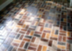 Old Chicago brick floors.  Old Chicago brick flooring in a kitchen.  PortStone old chicago brck floors. thin bricks on mesh.  thin brick panels. Shadows on an old chicago brick floor.