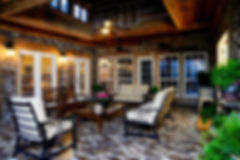 The best in Outdoor living.  150 year old wood beams. Ceiling fans in a covered patio.  Large covered patio.  St. Louis brick floor on a covered patio.  Sunroom. Rose Hill brick color.  PortStone. Thin brick.  PortStone thin brick.
