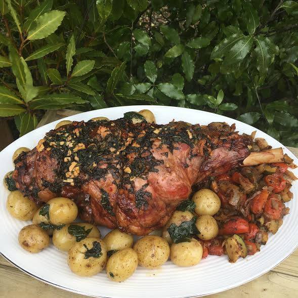 Smoked Leg of Lamb, New potatoes    with Courgette & Tomatoes
