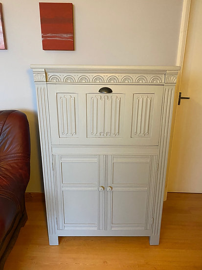 Fold down Bar Cabinet in Pale Grey, front view.