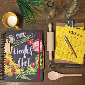 Caderno de Receitas e Lista de Compras para Papel Craft
