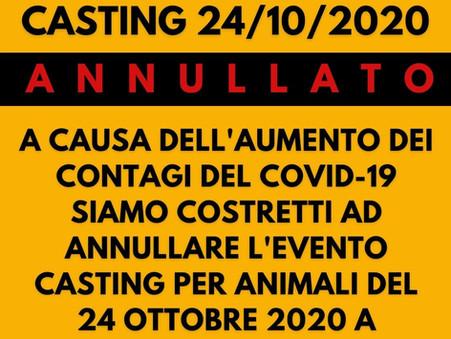 ANNULLATO L'evento casting di animali a Milano del 24/10/2020