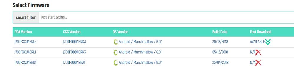 Samsung J700f Download links