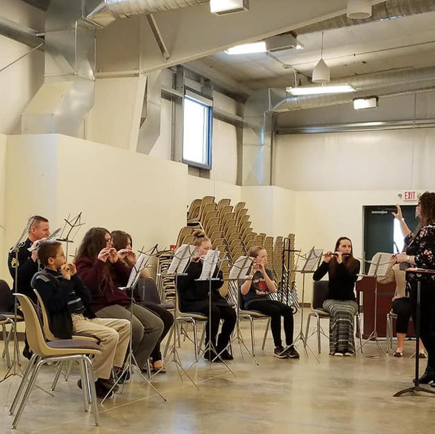 Teaching a Piccolo Masterclass at the Nauvoo Flute Day. January, 2020