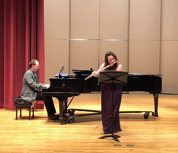 Rose and Pianist Jason Sifford at the recital at Drake University. April, 2019