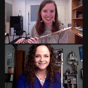 Rose & Lizzy presenting after one of many flute workshops on A Flutist's Guide to the Voxman Etudes. May, 2021