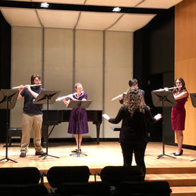 Conducting the Cornell College Flute Ensemble. May, 2019