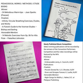 A Flutist's Guide to the Voxman Etudes was a finalist and her commission of Lisa Neher's Night Song for Moths received Honorable Mention from the National Flute Association's Newly Commissioned Works Competition.  April, 2021