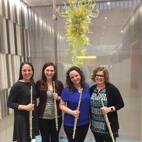 The University of Iowa alumni flute quartet performing at the Iowa Flute Festival. March, 2018