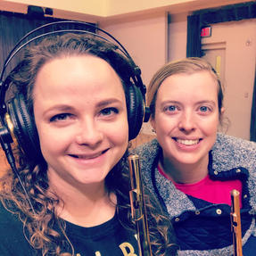 Rose and Lizzy recording their first CD together. June, 2020
