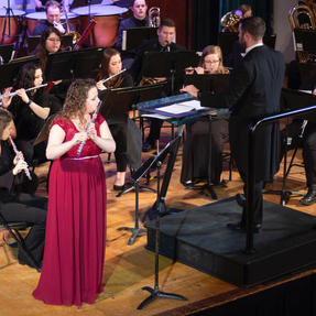The midwest premiere of Peter Senchuk's Flute Concerto with the Kansas Wesleyan University Wind Ensemble. March, 2019