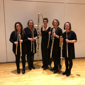 Ceres Flute Quartet after their performance at Simpson College. October, 2019