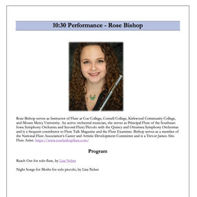 Rose performed two of Lisa Neher's solo flute works at the Portland Flute Society's Flute Festival. April, 2021
