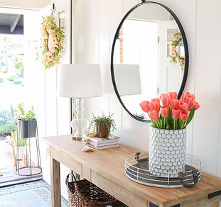 coral-pink-tulips-entryway-table-spring-
