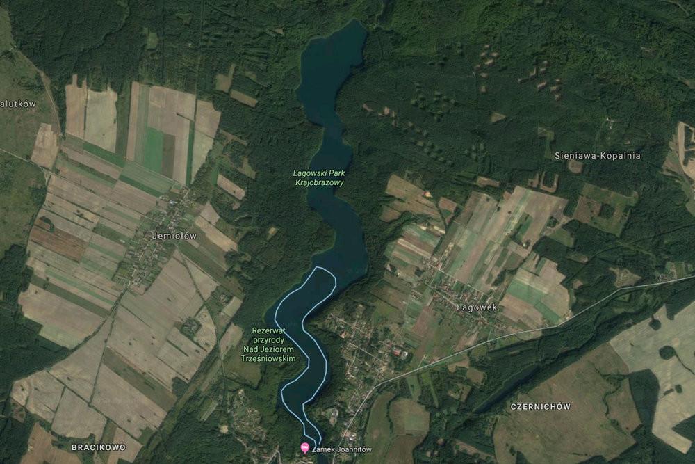 na niebiesko zaznaczona jest nasza trasa - około 6 km