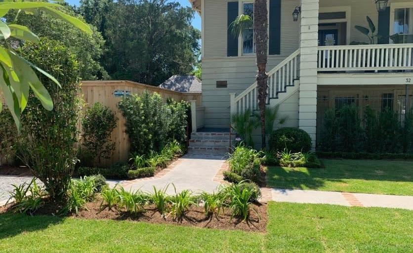 Front garden landscaping, planting design, hardscaping