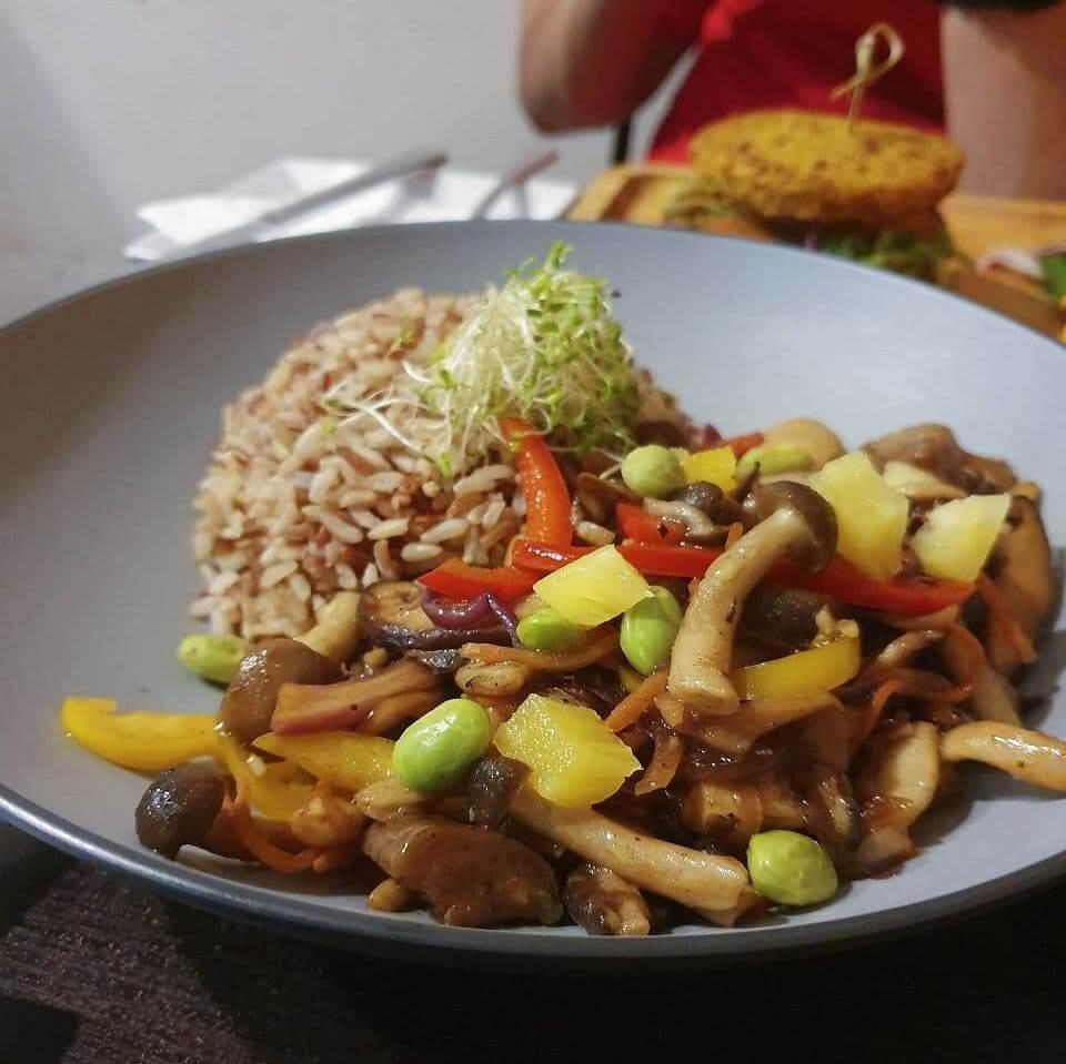 Vegan mixed mushroom rice bowl