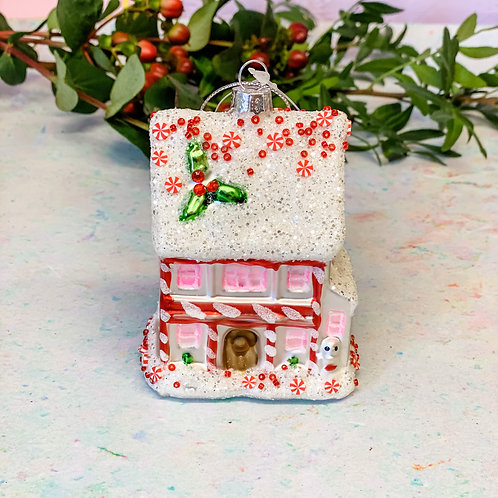 Sass & Belle Pink Fairytale Gingerbread House Shaped Bauble