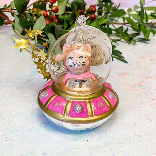 Sass & Belle Spaceship Cat Shaped Bauble
