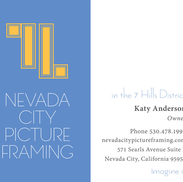 Nevada City Picture Framing business card
