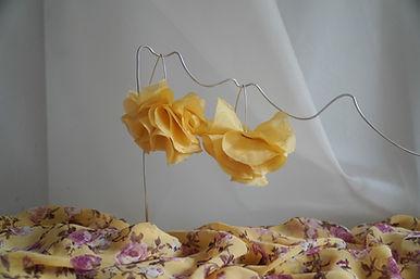 pendientes flores amarillas de seda pend