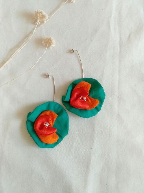 Pendientes VARALI grandes Verde y dos tonos de naranja