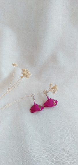 pendientes gota rosa fucsia estudio vara