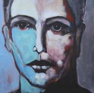 Head with Blue Face,66 X 46 acrylic on c