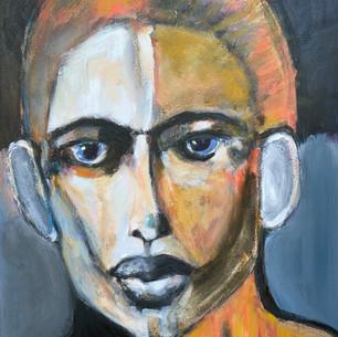 James Koskinas_Face with Orange_ 40 X 30