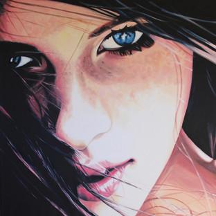 Cindy Press Peering, 36_ x 36_, oil on canvas, �3150