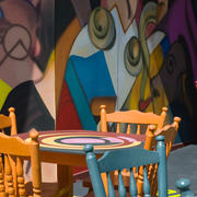 """Betsy Pinover Schiff, Chairs and Mural Photo 6.5x10 printed on German rag Paper 2"""" Acid Free Mat"""