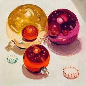 "Stephanie Reit Ornaments, 12""x12"", oil o"