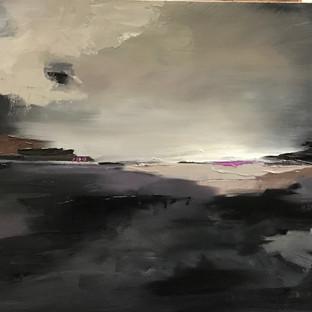 Stephanie Reit, black abract,16x20 oil,