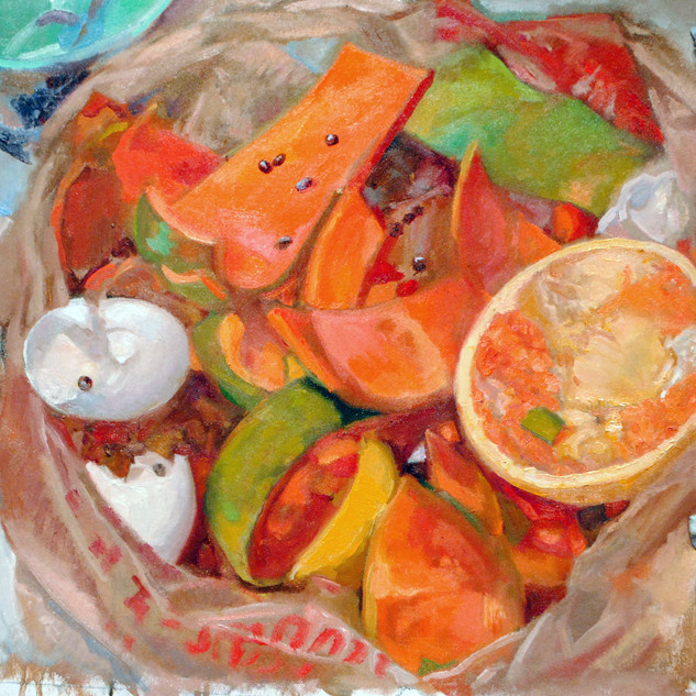 Bruce Lieberman 16x16  oil Papya compost