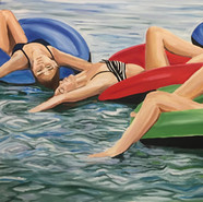Restful Tubing ,oil on canvas,36 x 60