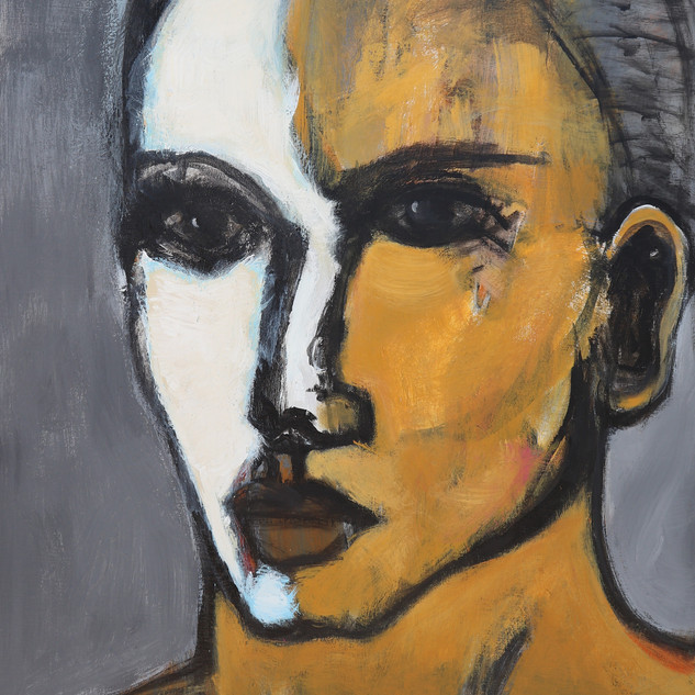 Girl in Ochre, 40 X 30, acrylic canvas.j