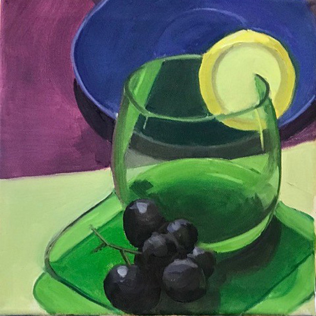Stephanie Reit Green Glass 10x10, oil on